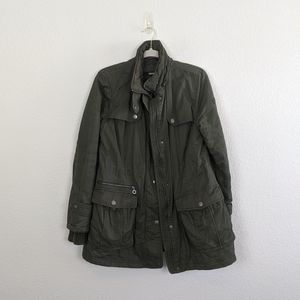 DKNY Green Utility Button Cinch Zip Anorak
